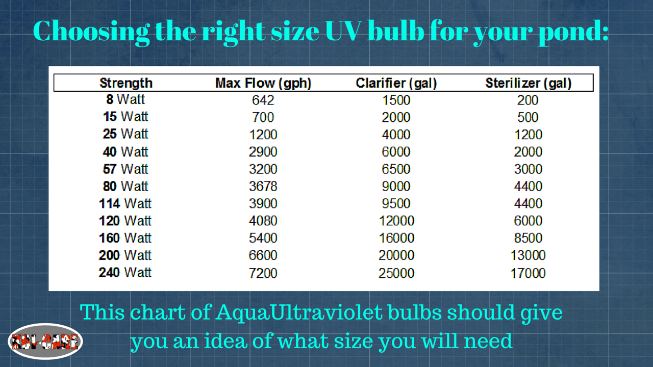Uv bulb sizing chart for Koi pond size