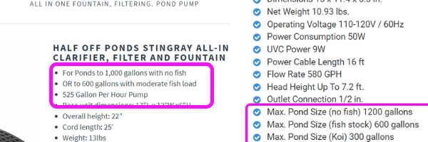 pond size recommendations with and without fish 2